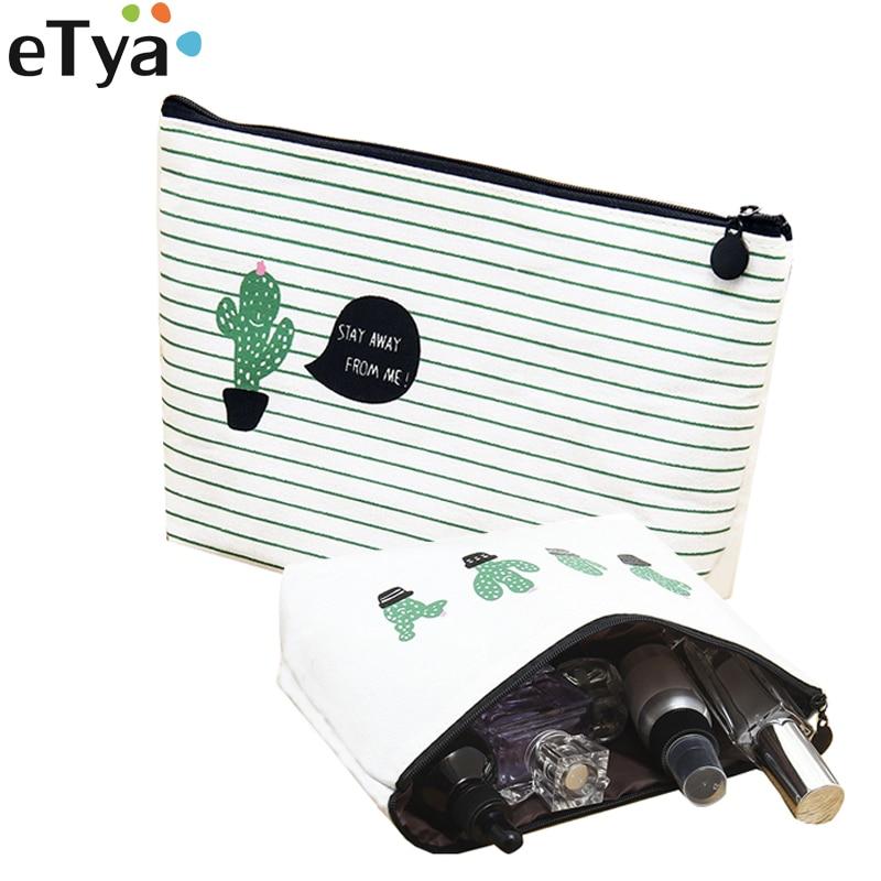 ETya Cactus Printing Women Travel Cosmetic Bag Portable Zipper Make Up Bags Girl Makeup Necessaries Beauty Toiletry Storage Case