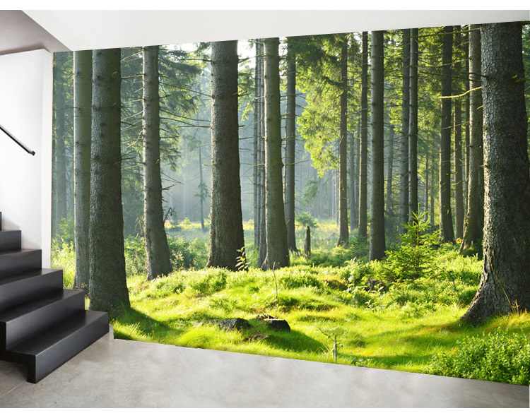 buy custom photo wallpaper forest large mural wallpaper bedroom living room. Black Bedroom Furniture Sets. Home Design Ideas