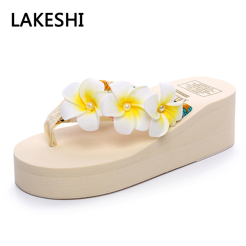 LAKESHI Women Summer Sandals Slippers Platform Flip Flops Wedges Home Slippers Beach Sandals Flat Sandals mnixuan women slippers sandals summer