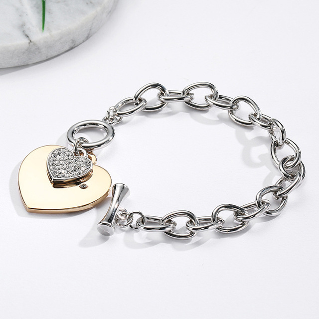 Gold Silver Heart Charm Bracelets