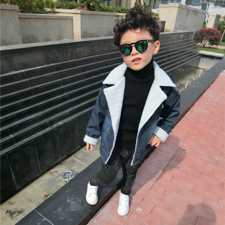 2016 winter boys coat Christmas thick fleece turn down collar long sleeve jacket toddler warm outwear children clothing 3-6T stylish turn down collar long sleeve zip pockets women s black jacket