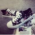 2016 mujeres floral zapatos de lona de color negro lace up todas correspondan calle calzado chica adolescente zapatos size35-40