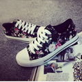 2016 women floral canvas shoes black color lace up all match street footwear girl teenage shoe size35-40