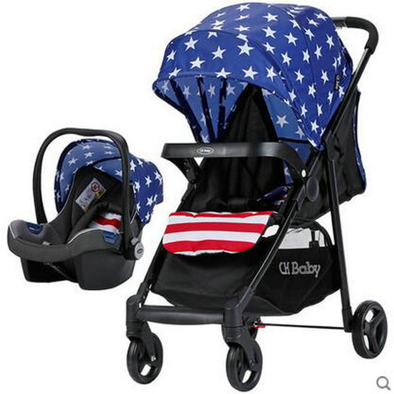 ФОТО four-in-one folded light baby stroller pram denim blue can be car safety seat convenient multi-fuctional stroller