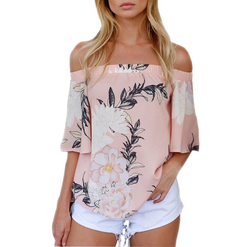 Nieuwkomers Mode Dames Losvallend Schouder Bloemenprint T-shirts - Dameskleding