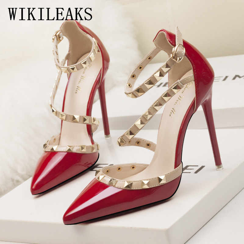 145dab8a3a5 women shoes high heel rivet shoes woman italian wedding dress red heels  shoes extreme high heels sapatos de salto alto stiletto