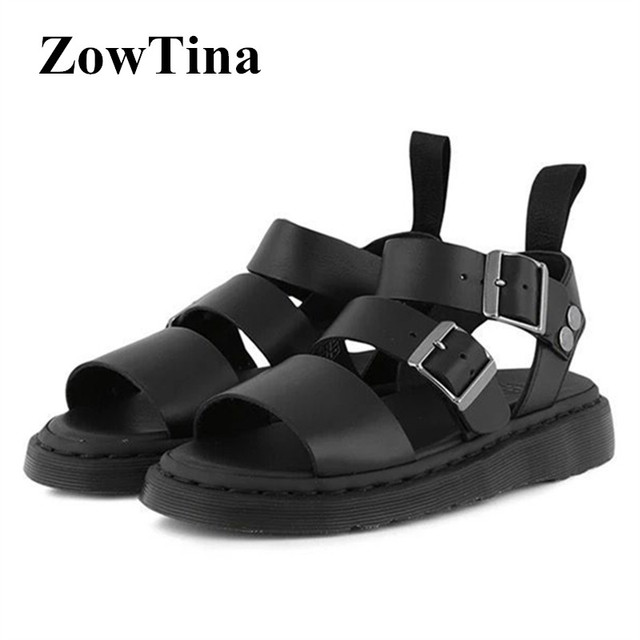 8f9ac783b Women Gladiator Flats Sandals Black Leather Casual Summer Shoes Woman  Platform Sandalias Mujer Red Blue White Ladies Shoes