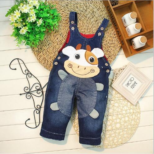 New Arrival Baby Spring And Autumn Overalls Boys Girls Trouser Jeans Denim Jumpsuit Cute Cartoon Print Kids Clothes