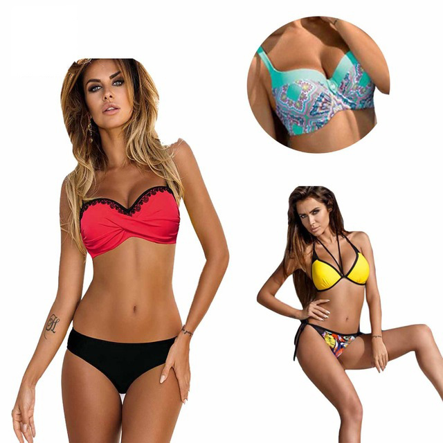 Lace Patchwork Bikini Sexy Plus Size Push Up Swimwear Women Bathing Suit Solid Bikini Set 2017 New Swimsuit sexy plunging neck push up plus size solid color bathing suit for women