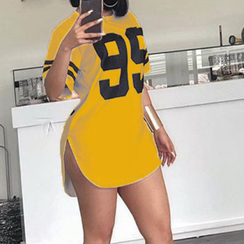 Street Style Number Printed Short Sleeved Mini Dresses Casual Plus Size Pullover Tshirt Dress Tops WS7225U 4