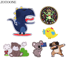 ZOTOONE Embroidery Hot Pop Dog Patch Jeans Iron on Dinosaur Koala Bear Patches for Clothes DIY Badge Cartoon Bird Gift Kids