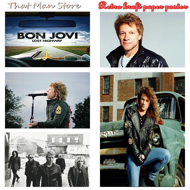 Винтажный Ретро-постер Bon Jovi в стиле рок-группы, музыки, гитары, матовая крафт-бумага, античный постер, настенная наклейка, домашний декор, 30*21...