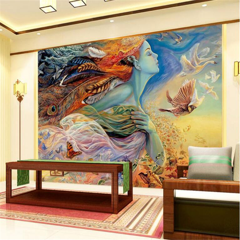 beibehang 3D graceful art painting oil painting beautiful woman avatar photo wallpaper wallpaper background papel de parede
