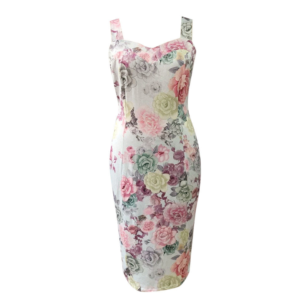 Sexy Party Dress For Womens Summer Print Color Block Sleeveless Bodycon Dress Female Slim A Line