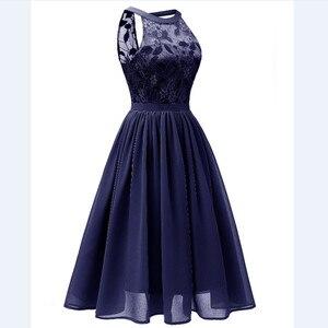 Image 4 - CD1645Z # Chiffon Halter Neck Spitze Rosa wein rot dunkelblau grün Violett Abendkleider kurze party prom kleid mädchen großhandel