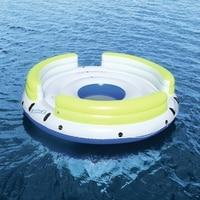6 человек гигантские надувной круглый ленивый день остров Float лодки плавательный бассейн плавает кровать воды игрушки бассейн Fun плот