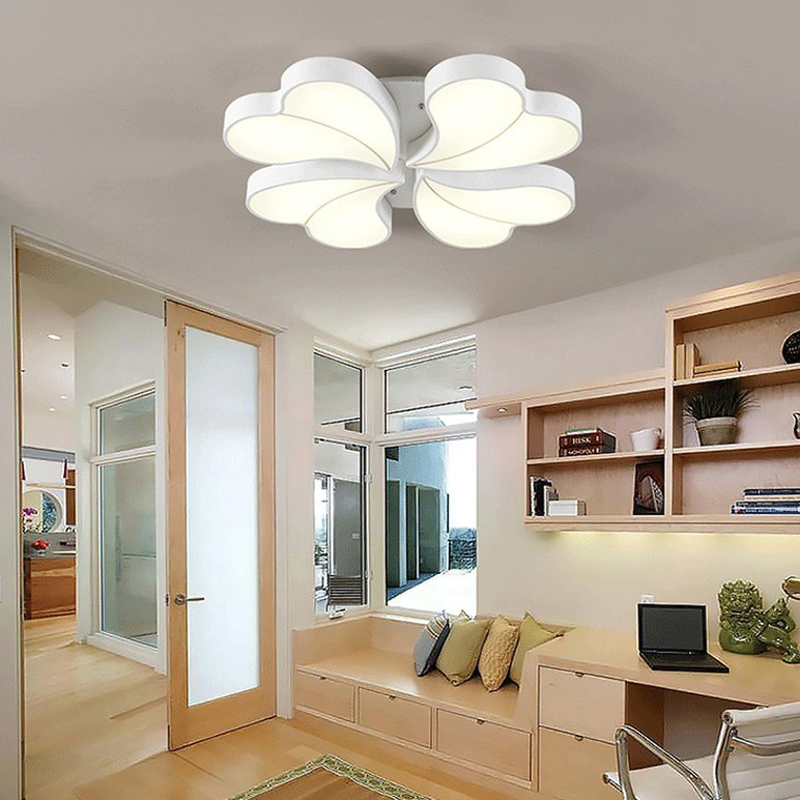 GETOP Acryl LED Ceiling Lights Heart Shape Petals Romance Stepless Dimming Ceiling Lamp Remote Control Flower Lamps For Room