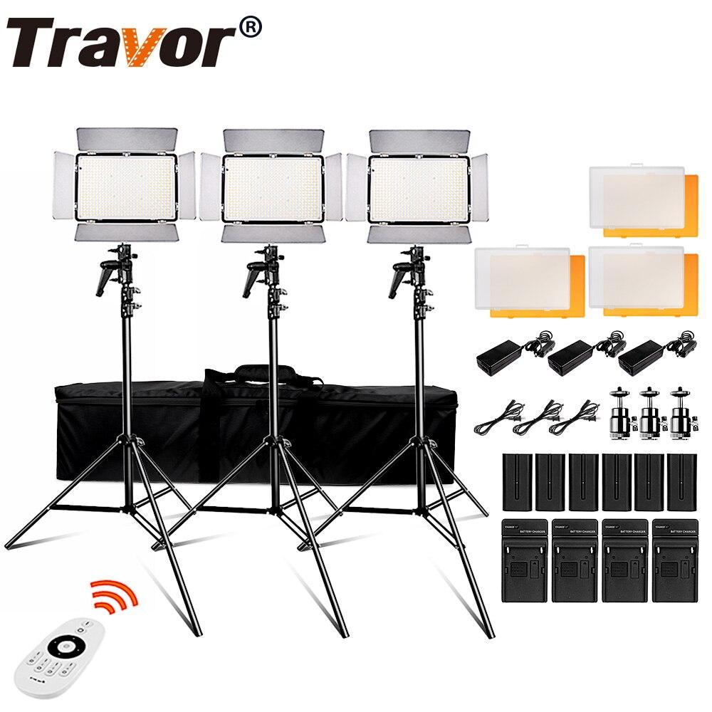 Travor TL-600S 2,4G Kit de vídeo de luz led/luz de vídeo/estudio de 3200 K-5500 k CRI95 + batería de 6 piezas + soporte de luz 3 piezas + adaptador de corriente alterna