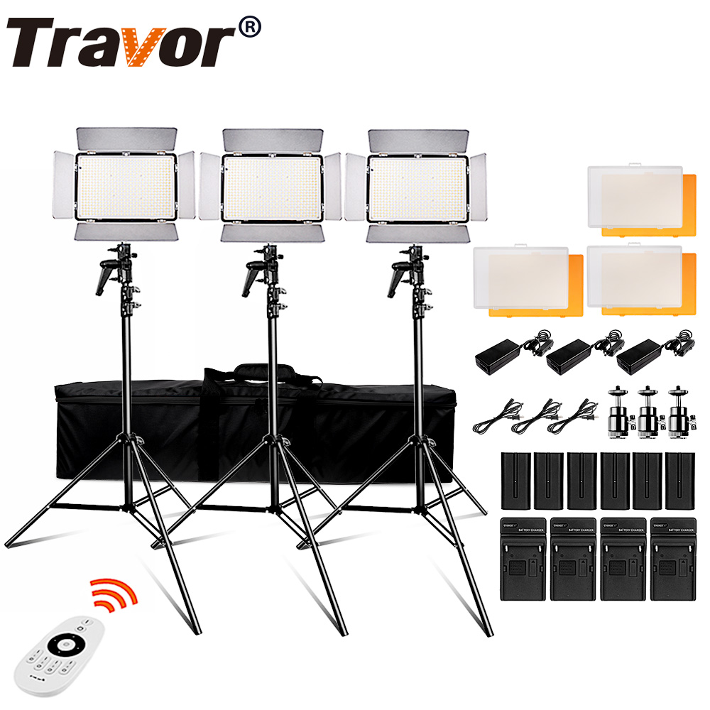 Travor TL-600S 2.4G Kit led video light /video light /Studio 3200K-5500k CRI95 +6pcs battery +3pcs light stand +AC Power adapter travor tl 600a 2 4g kit bi color led video light 3200k 5500k for photography shooting three light 6pcs battery 3 light standing