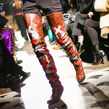 Latest 2017 Love&Hate Printed Zipper Female Over-the-knee Boots Strange Style Heels Pointed Toe Runway Shoes Woman Long Boots