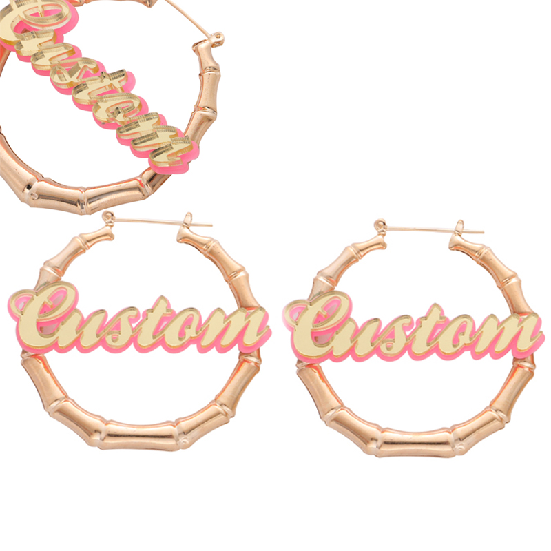 ec5c345e4 Personal Custom Name Design in Handmade Round Bamboo Earrings Perfect Kids  Gift for Best Friend Love