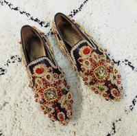 Luxury Colorful Rhinestone Flowers Women Pointy Toe Flats Fashion Ladies Slip On Ballet Flats Golden Embroidery Sexy Flats