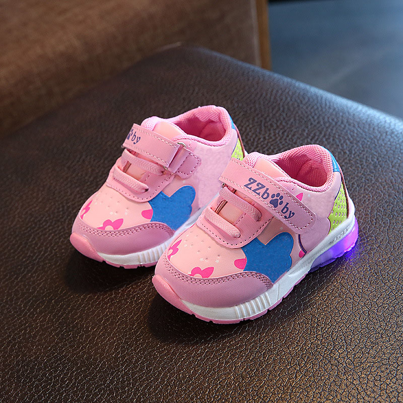 2018 high quality LED shoes children Hook^Loop cool excellent baby sneakers lighting up girls boys shoes glowing footwear