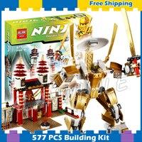 577pcs Ninja Temple of Light Dojo Golden Mech Samurai Robots 9795 Model Building Blocks Classic Sets Gifts Compatible With lego
