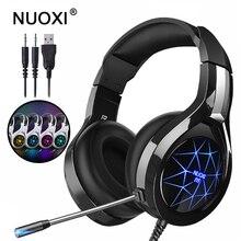NUOXI N1 سماعة رأس ستيريو للألعاب أفضل Casque عميق باس لعبة سماعات سماعة مع هيئة التصنيع العسكري مصباح ليد ل PS4 PC Xbox One