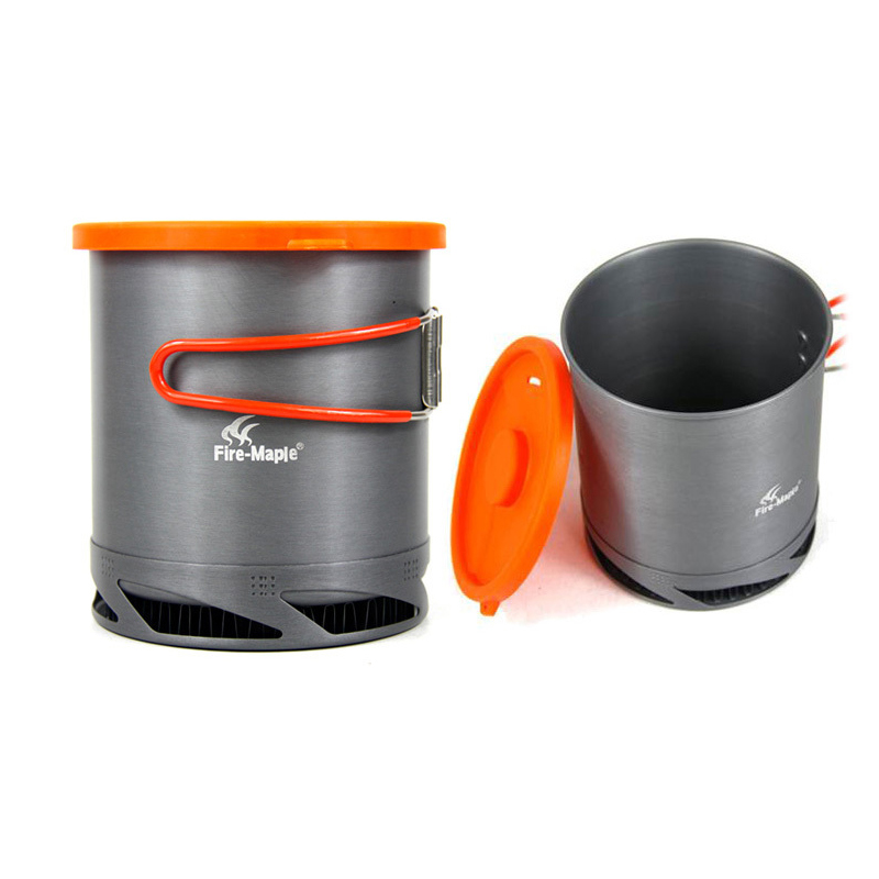 Heat Collectiing Exchanger Pot Cup Camping Picnic Cookware Kettle 1L w/ Mesh Bag Outdoor Heater цены онлайн