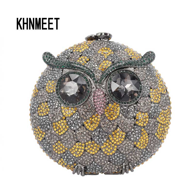 New style Luxury Crystal Clutches Evening Bag Owl Party Bag Women Wedding Bag Chain Prom Purse Day Clutches Bag SC244 luxury real new arrival day clutches diamonds flower women bag banquet crystal handbag wedding party handbags night clubs purse