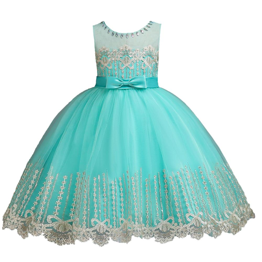 Girl Princess Tutu Child Lace Dress Bow Wedding Sleeveless Holiday Dresses