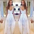 2016 сексуальная бретельках лето Boho пляж свадебные платья белого кружева свадебное платье длинные платья новое поступление Vestido ренда-линии
