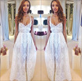 2016 Sexy Spaghetti Straps Summer Boho Beach Wedding Dresses White Lace Bridal Gown Long Dresses New Arrival Vestido De Renda