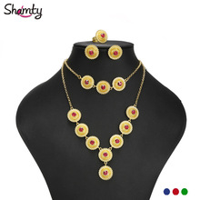 Gold-Sets Ethiopian Bridal-Jewelry African Green-Stone Woman Pure Shamty Trendy for Habesha-Style