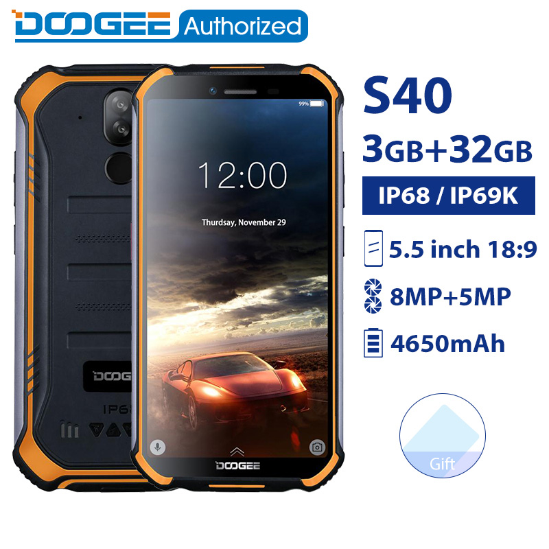 DOOGEE S40 3 GB GB IP68 32/IP69K MTK6739 smartphones à prova d' água Quad Core 5.5 ''4650mAh 8.0MP 4G Acidentada android 9.0 Do Telefone Móvel