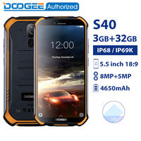 DOOGEE S40 3GB 32GB IP68/IP69K waterproof smartphone MTK6739 Quad Core 5.5''4650mAh 8.0MP 4G Rugged Android 9.0 Mobile Phone