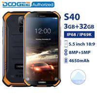 DOOGEE S40 3GB 32GB IP68/IP69K waterproof smartphone MTK6739 Quad Core 5.5''4650mAh 8.0MP 4G Rugged Android 9.0 Mobile Phone