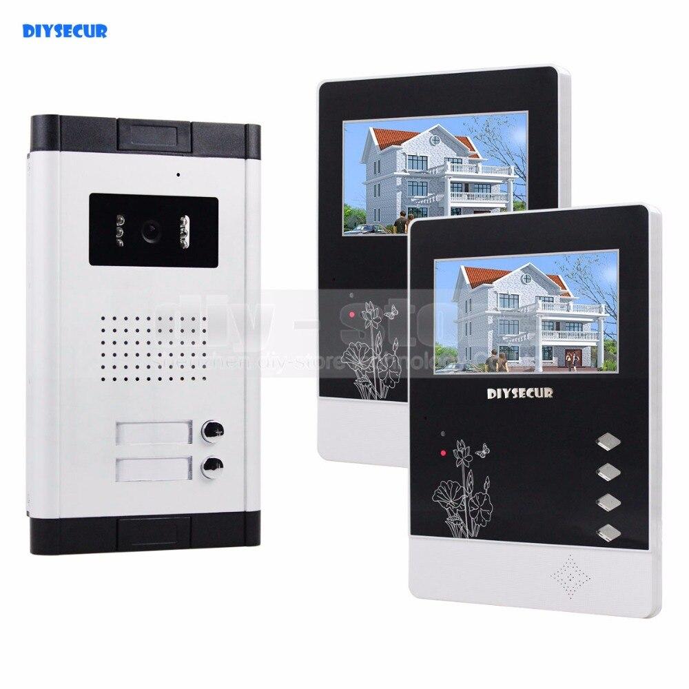 DIYSECUR 4.3 Appartement Interphone Vidéo Porte Téléphone Système Sonnette IR Caméra Tactile Clé Pour 2 Familles