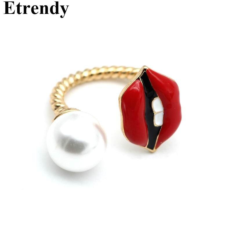 Мода 2017 г. Имитация Перл Красный губ кольцо Для женщин ювелирные изделия милый подарок ...