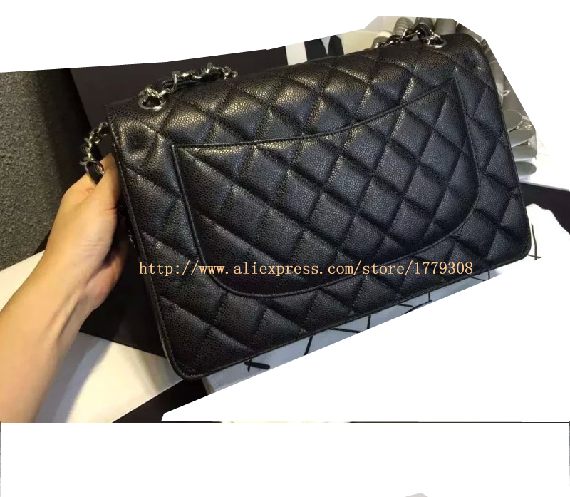 1e006c1e63c55f channel bag high quality Black Quilted Lambskin Jumbo Classic Double Flap  Bag Gold Hardware Caviar Leather 2.55 Handbag-in Shoulder Bags from Luggage  & Bags ...