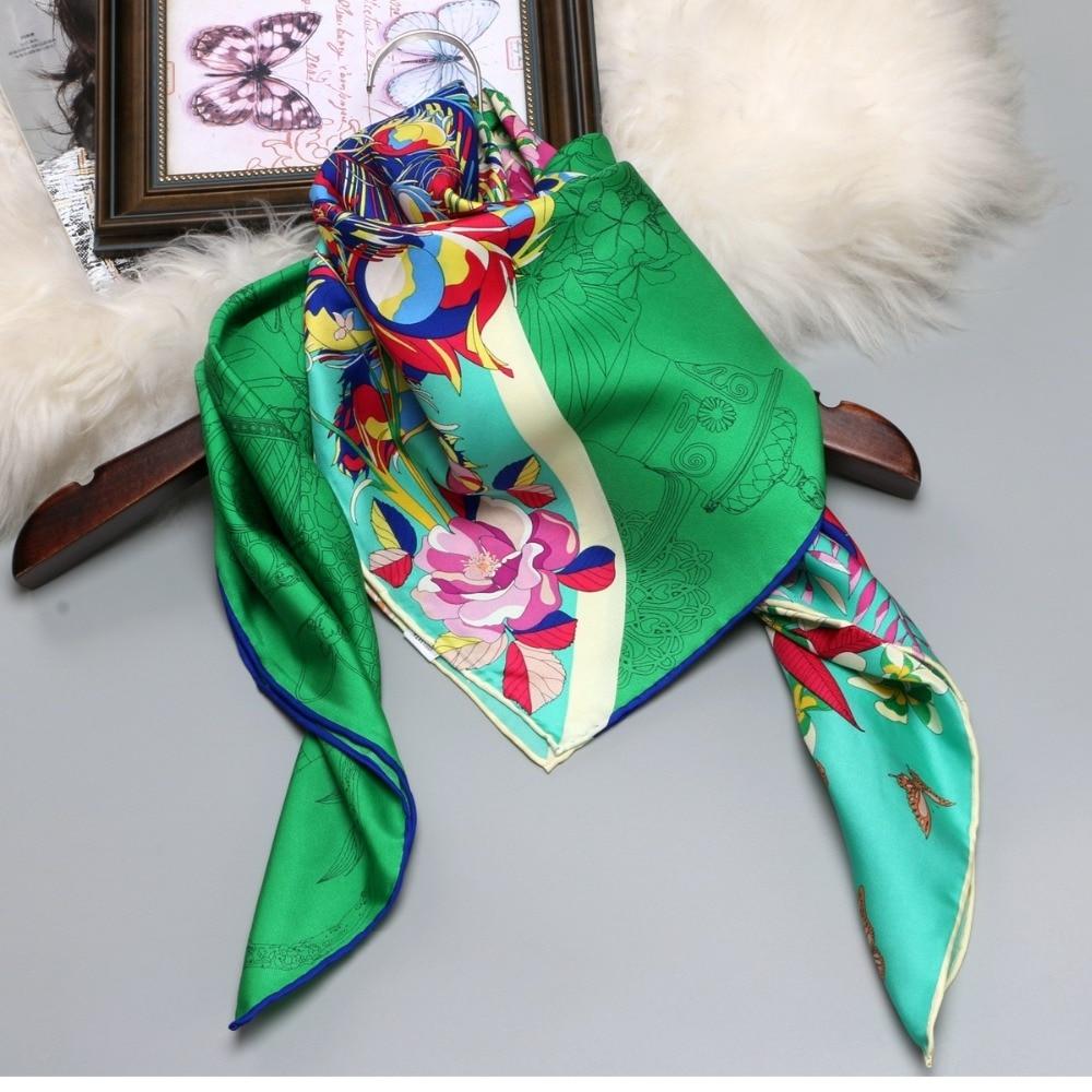 100% Silk Twill Scarf Hijab Foulard Women Ladies Large Square Silk Scarfs Shawl Wraps Hand Roll Edges 88x88cm