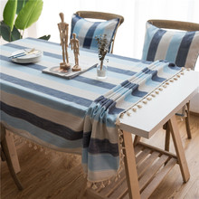 Striped waterproof tablecloth Mediterranean wind blue fabric Cotton linen small fresh table rectangular coffee cloth L322