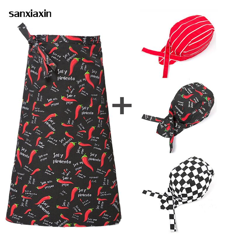 Kitchen Cooking Aprons Work Dining Half-length Long Waist Apron Catering Chefs Hotel Waiters Apron+hat Chef Restaurant Uniform