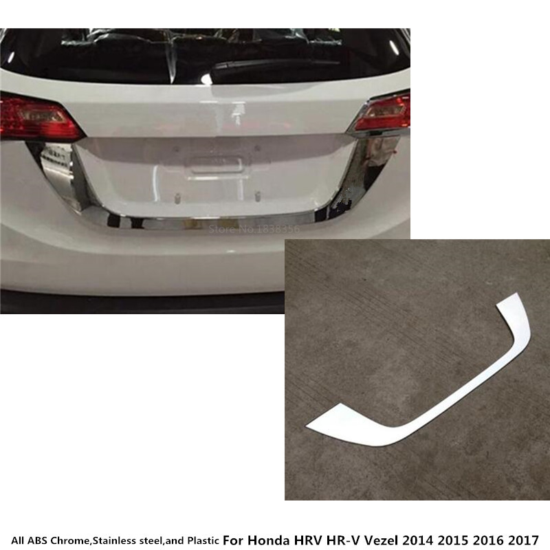 Car detector ABS chrome back Rear license frame plate trim Strip bumper hoods For Honda HRV HR-V Vezel 2014 2015 2016 2017 1pcsCar detector ABS chrome back Rear license frame plate trim Strip bumper hoods For Honda HRV HR-V Vezel 2014 2015 2016 2017 1pcs