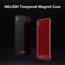 Nillkin para apple iphone x temperado caso ímã fino vidro temperado & receptor de carregamento sem fio capa traseira para iphone x 10 caso