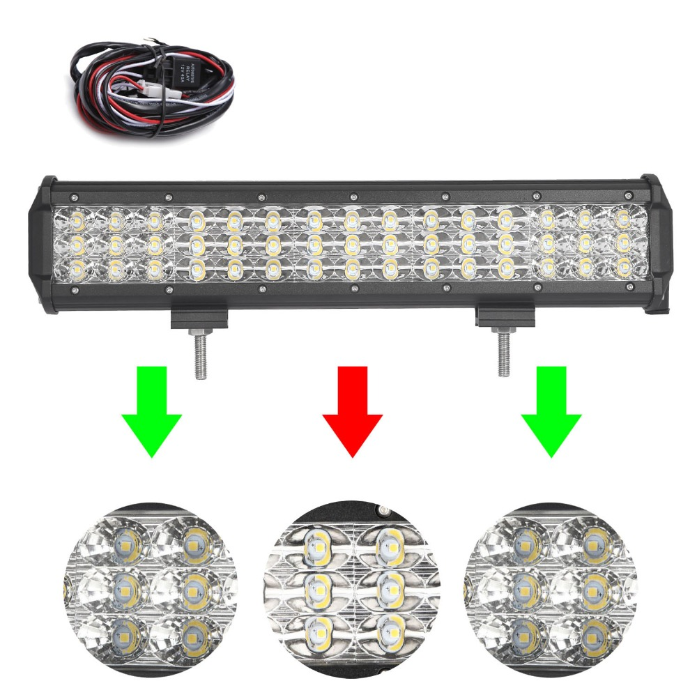 15 inch 180W Tri-Row LED Work Light Bar with Wiring Harness SPOT/FLOOD/COMBO Beam for Jeep Off road 4WD Boat SUV ATV Truck 4X4 видеоигра бука saints row iv re elected