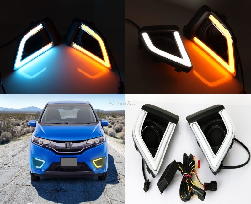 2pcs LED White+blue light Daytime Running Lights and  yellow turn signal DRL for HONDA FIT JAZZ 2014-2017 2pcs led white yellow daytime running lights drl for honda fit jazz 2014 2015