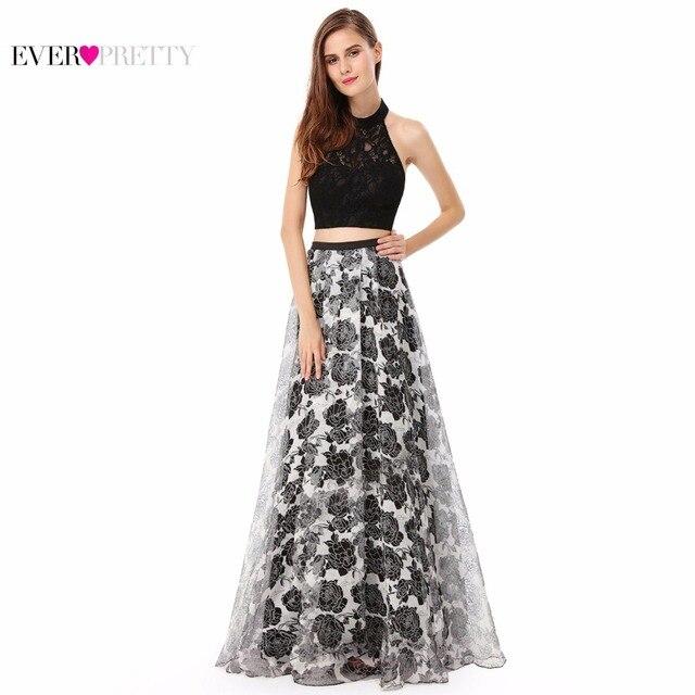 Prom Dress New Fashion A Line Ever Pretty Sleeveless EP08963BK Black Women Sexy Halter Long Prom Dress 2017