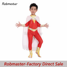 Kinder Flash-shazam Cosplay Captain Marvel Kostüm Billy Batson Overall Kostüme Mantel Anzug Superhero Halloween Zentai Bodysuit(China)